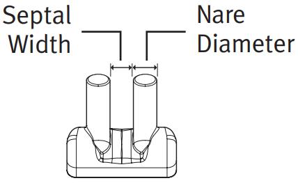 (BC3520-10) Nasal prong 3.5mm nare diameter/2.0mm septal width