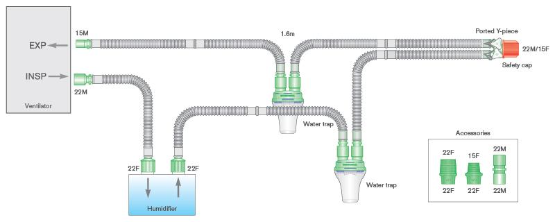 4503000-15mm Flextube breathing system with water traps, ported Y-piece and 0.5 limb, 1.