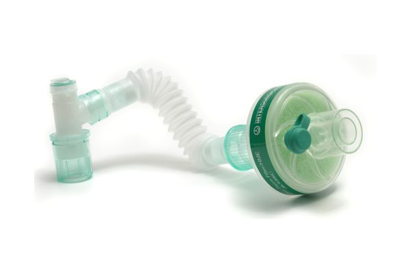 1841015-Clear-Therm HMEF with luer port and Superset catheter mount, fixed elbow and double flip top
