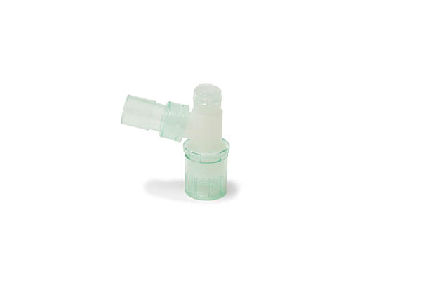 1899000S-Double swivel elbow 15M - flip top cap with 7.6mm port - 22M/15F - sterile