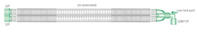 2151000S-22mm Compact, extendable breathing system with luer elbow, 2.0m - sterile