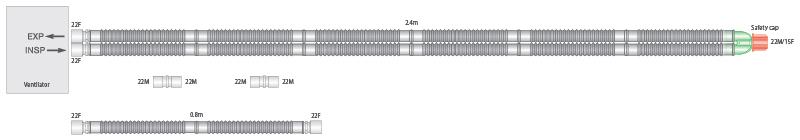 2003000-22mm Flextube breathing system with 0.8m limb, 2.4m