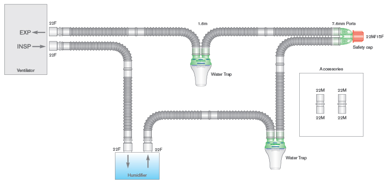 2009000-22mm Flextube breathing system with water traps, ported Y-piece and 0.8m limb, 1
