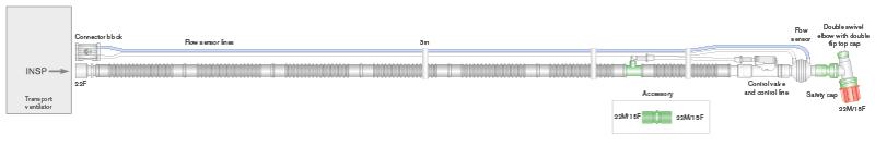 2272000-22mm Flextube transport breathing system for Oxylog 2000 plus, 3000, 3000 plus&c