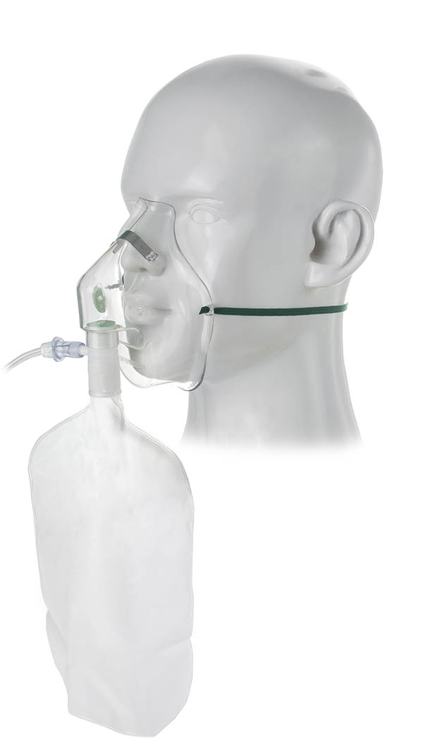 1002000-Adult, high concentration oxygen mask, safety vent and tube, 2.1m