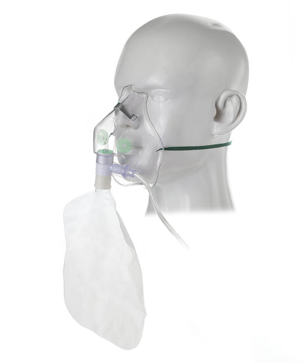 1102000-Adult, high concentration oxygen mask and tube, 2.1m