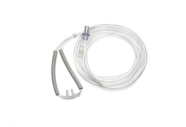 1165020-Adult, Satin nasal cannula with curved prongs and tube, 1.8m