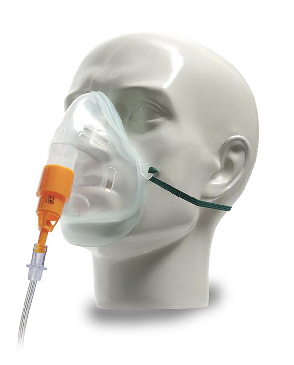 1031085-Intersurgical EcoLite, adult, oxygen mask with 31% venturi valve, orange
