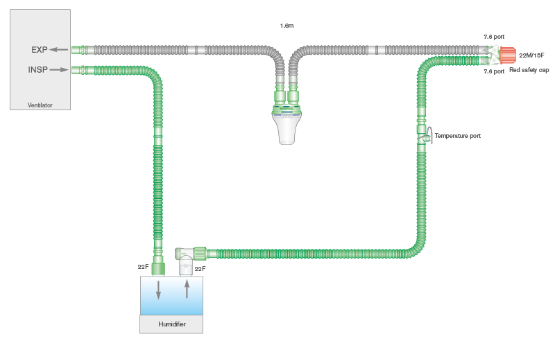 4515850-15mm Flextube single heated wire breathing system with water trap and 0.5m limb, 1.6m