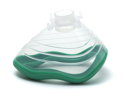 7094000-EcoMask, anaesthetic face mask, size 4, medium adult, with green sea