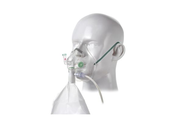 1202000-Respi-Check, adult, breathing indicator high concentration oxygen mask with tube